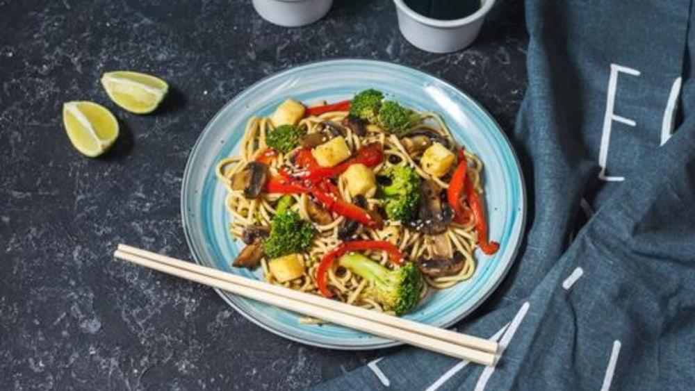 Image of Tofu Soba Noodles: Sesame Sauce Stir Fry Recipe
