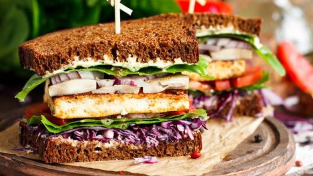 Image of Vegan Sandwich With Crispy Fried Tofu and Hot Slaw!