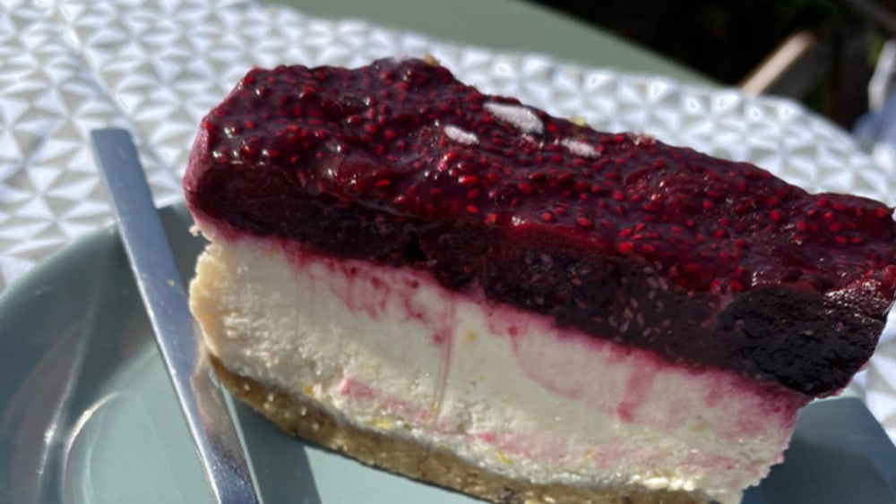 Image of Vegan and Gluten Free Cheesecake Topped with Cherries