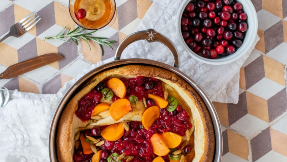 Image of Chef Tirzah Love's Dutch Baby with Cranberry Sauce