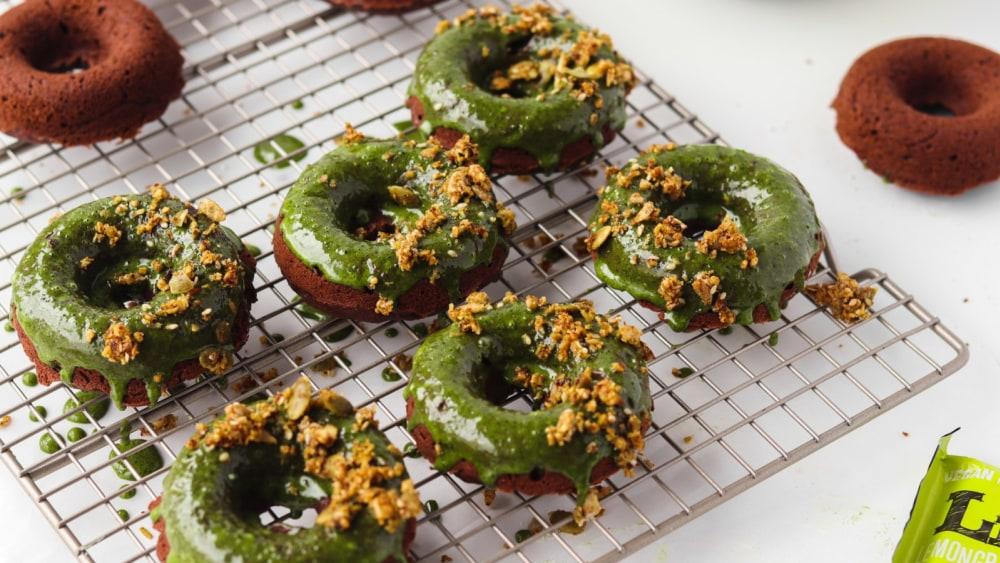 Image of Matcha Glazed Chocolate Donuts