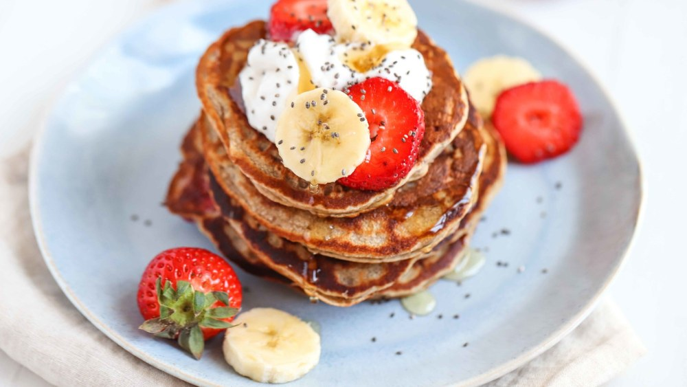 Image of Banana & Strawberry Pancakes