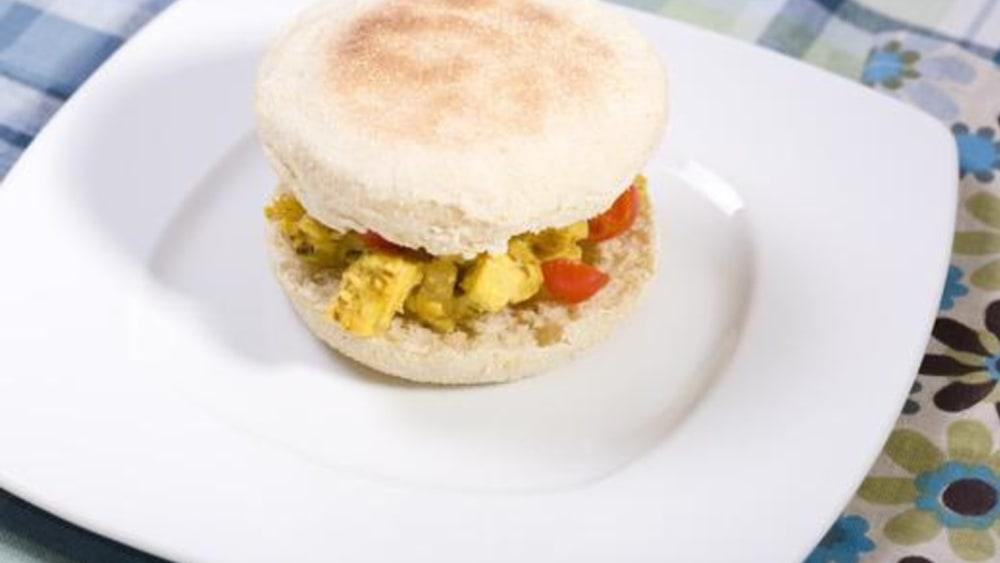 Image of Vegan Breakfast Sandwich with Tofu Eggs and Vegan Cheese!