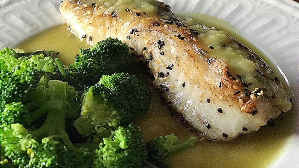 Image of Pan Roasted Sea Bass w/Wasabi Beurre Blanc Sauce