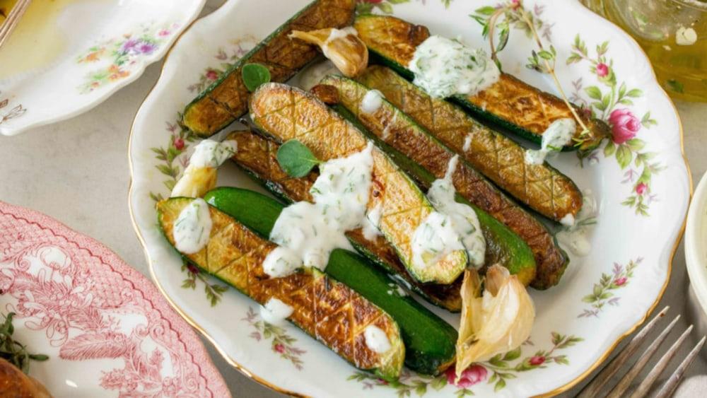 Image of Pan-Fried Zucchini with Yogurt Dressing