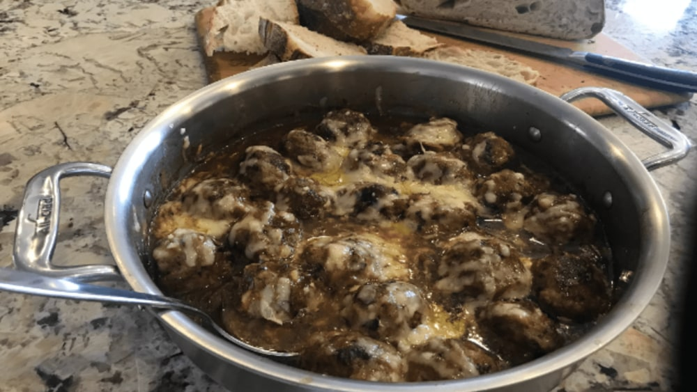 Image of French Onion style Turkey Meatballs
