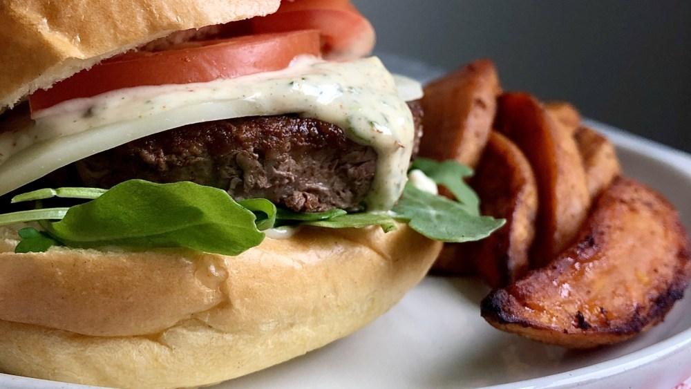 Image of Lamb Burgers with Sweet Potato Wedges