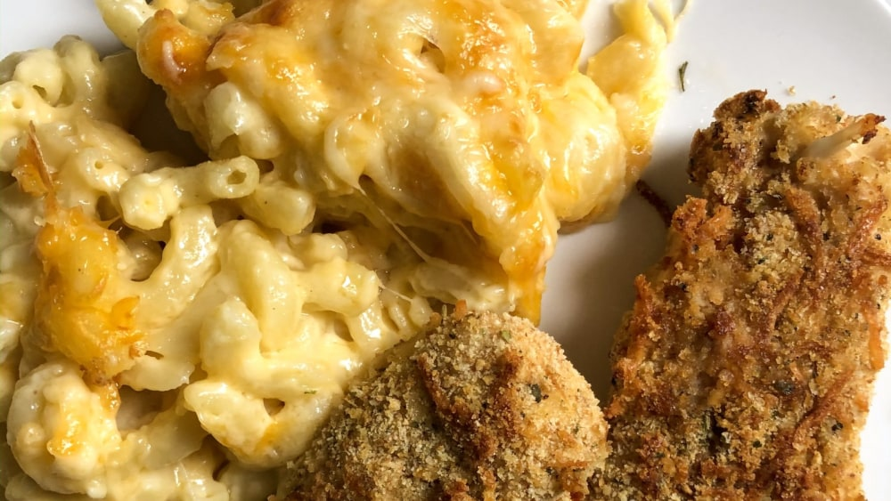 Image of Faux Fried Chicken and Mac and Cheese Recipe