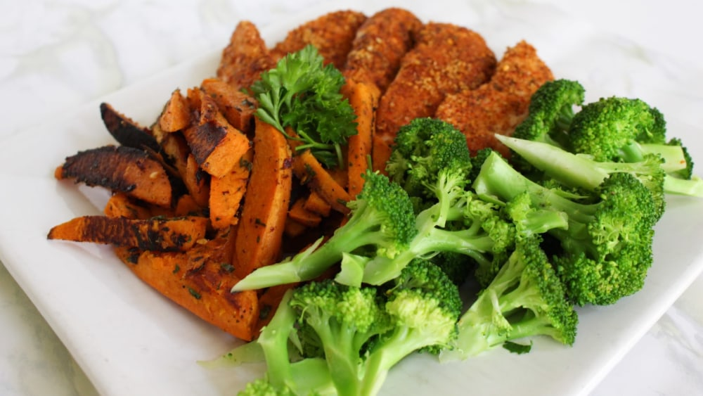 Image of Cajun Chicken with Sweet Potato Fries and Steamed Broccoli