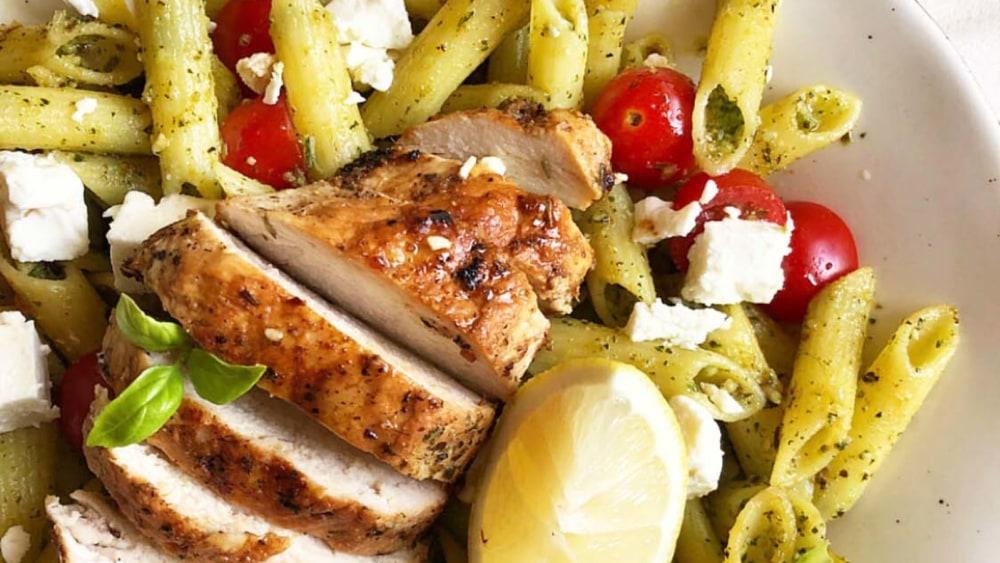 Image of Herb Lemon Chicken over Pesto Pasta Salad