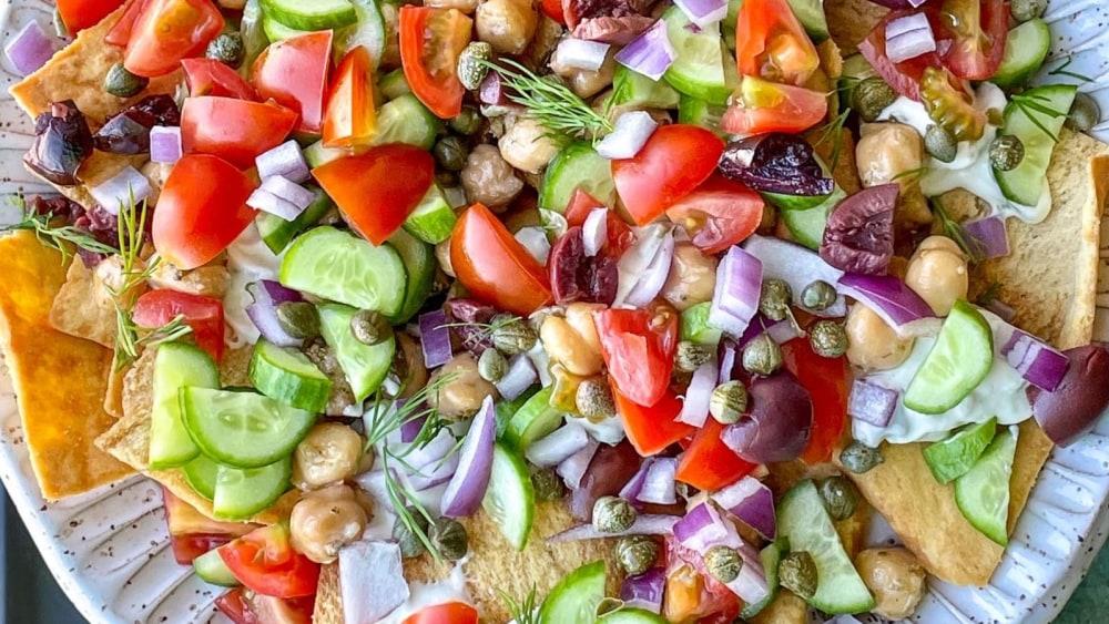 Image of Vegan Greek Nachos