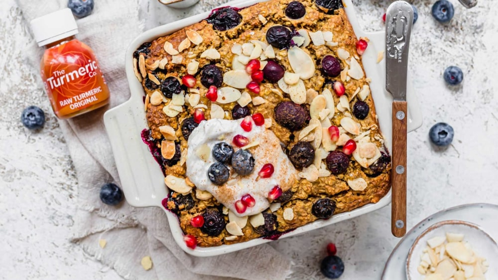 Image of Golden Blueberry Almond Baked Oats
