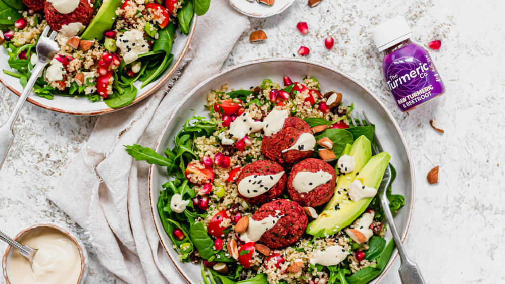 Image of Beetroot Falafel Salad with Spinach, Quinoa and Almonds
