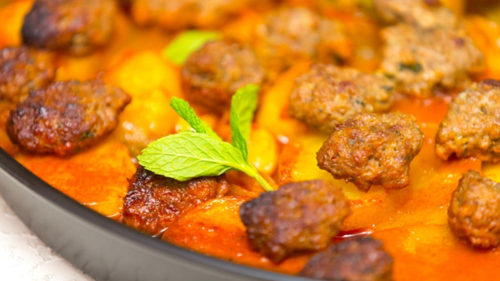 Image of CURRIED SAUSAGE MEATBALL ONE PAN BAKE
