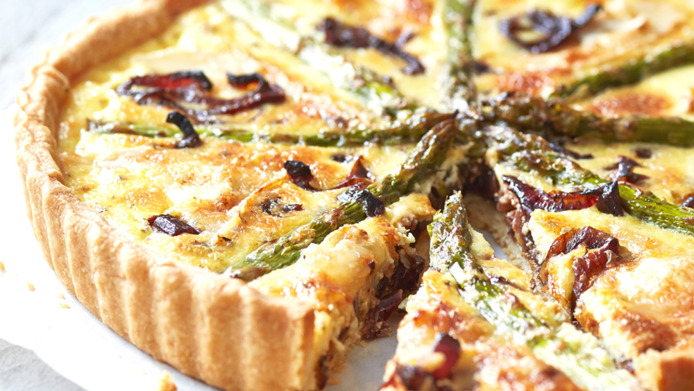Image of Caramelized-onion and asparagus quiche