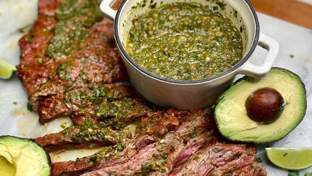 Image of Beef Carne Asada with a Chimichurri Sauce