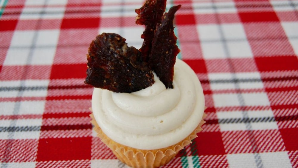Image of Maple Brown Sugar Cupcakes with Jerky Garnish