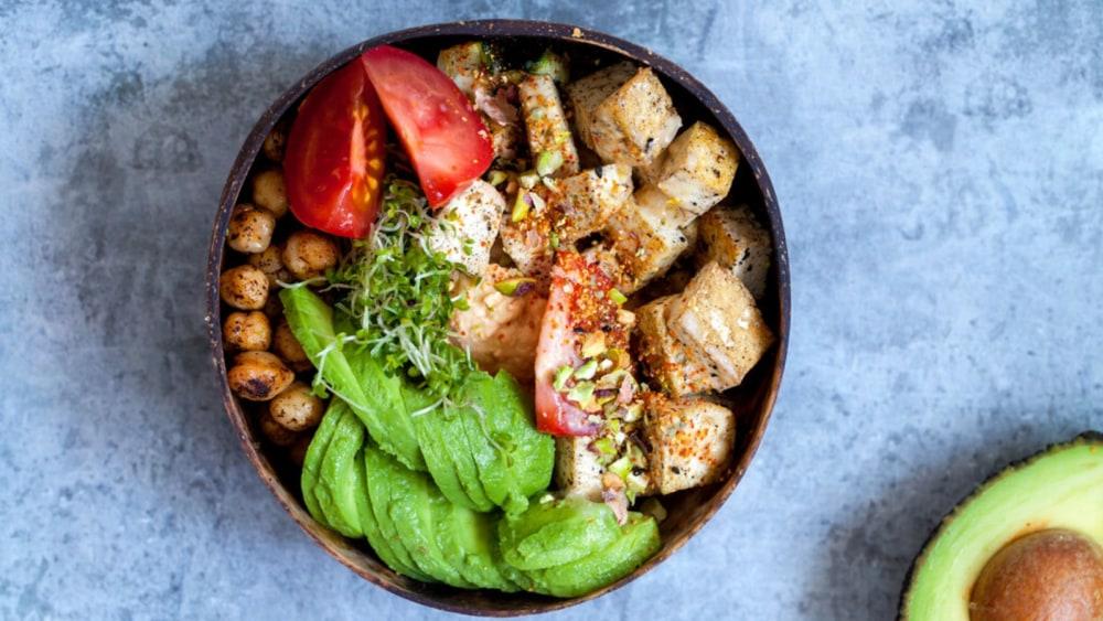 Image of Smoked Tofu Bowls With Pineapple, Avocado, and Bbq Sauce