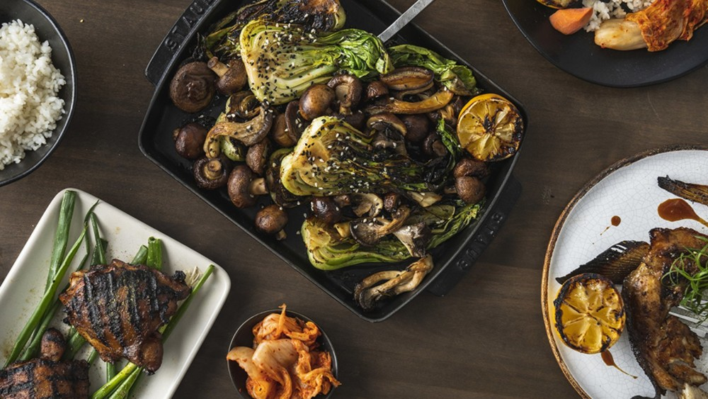 Image of Grilled Bok Choy & Mushrooms in a Sesame Dressing
