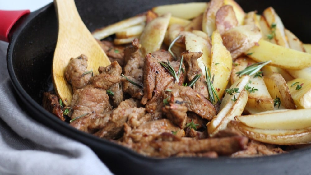 Image of Garlic Butter Steak Strips and Potatoes