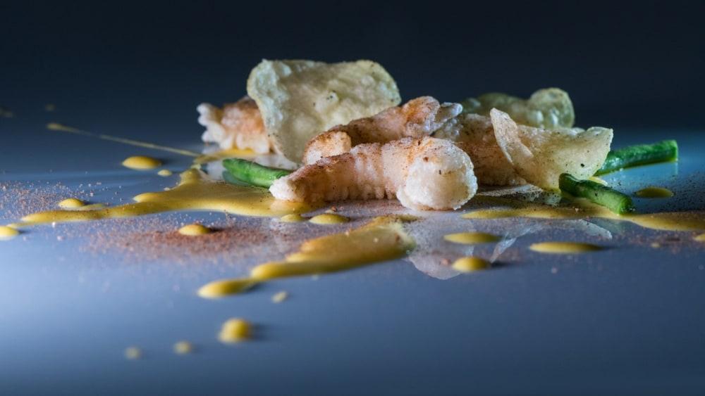 Image of Shrimp tempura with Black Truffle seasoning and Truffle Chips