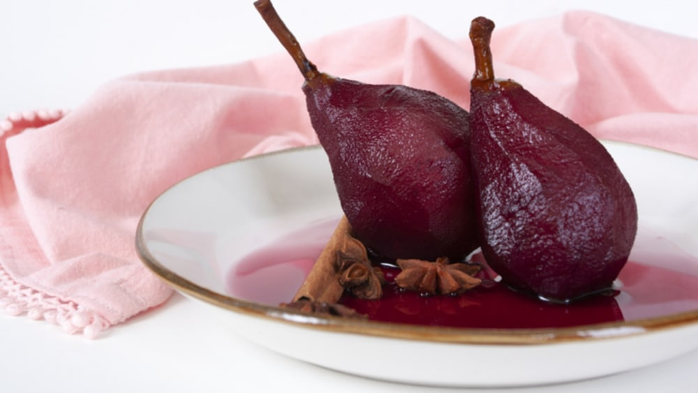 Image of POACHED RASPBERRY PEARS