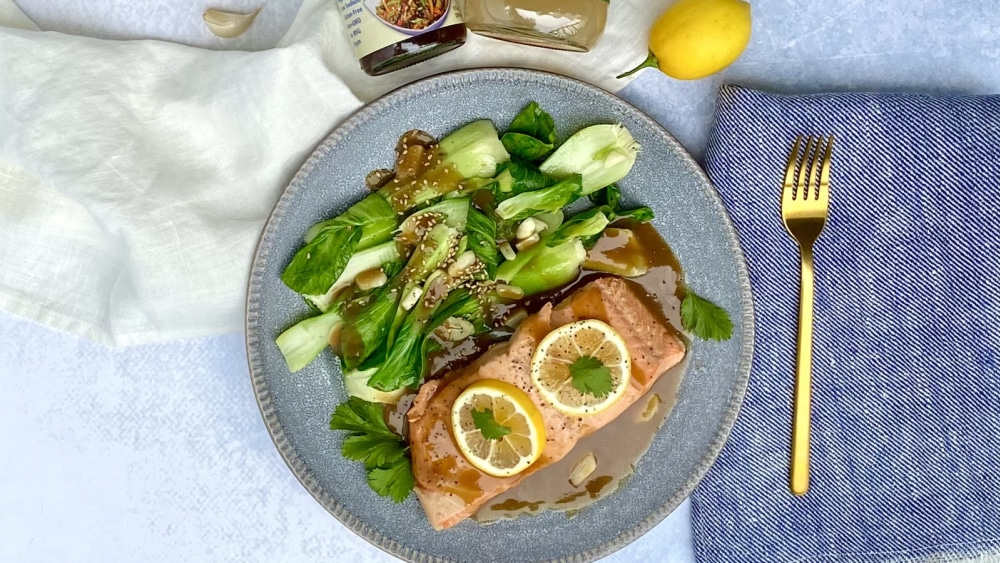 Image of Poached Salmon & Bok Choy with a Lemon Garlic Coconut Aminos Sauce