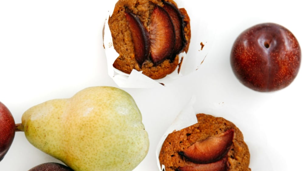Image of Nutritious Pear & Plum Muffins Recipe for Kids