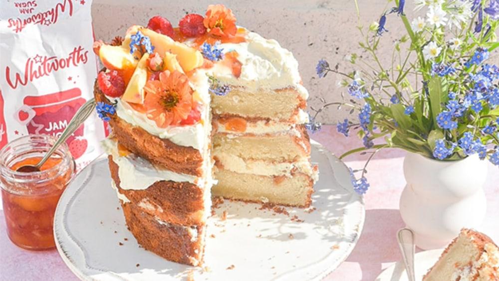 Image of Peaches and Cream Cake with Peach Bellini Jam
