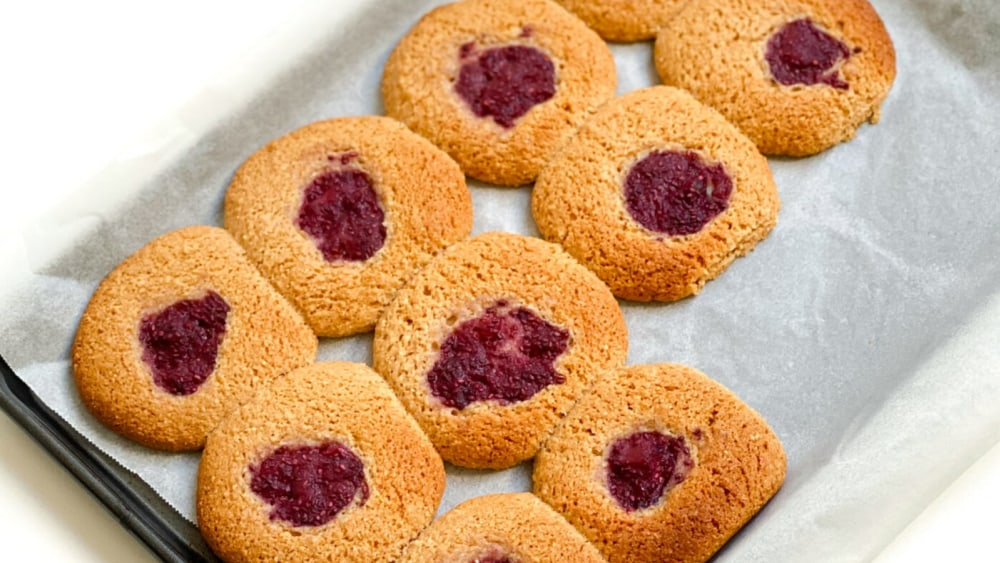 Image of Berry Almond Thumbprint Cookies
