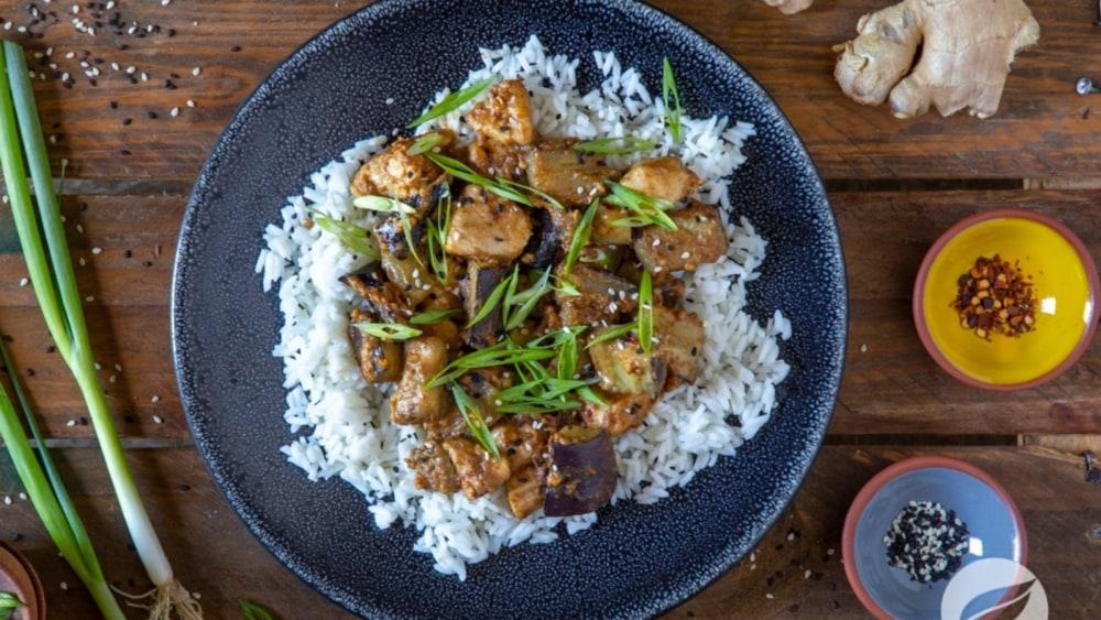Image of Sesame Ginger Chicken & Eggplant Stir-fry