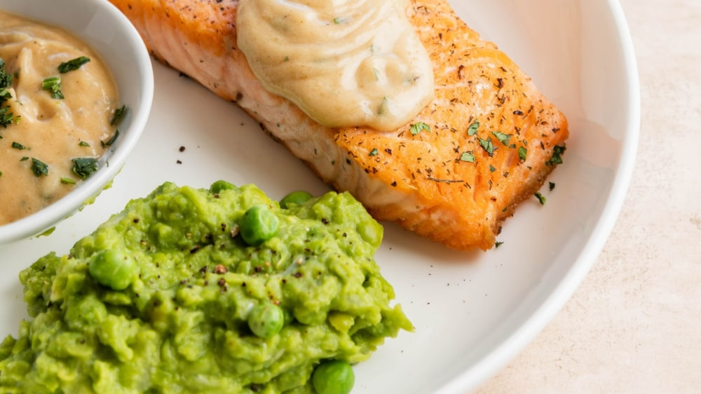 Image of Salmon with a fancy Beurre Blanc