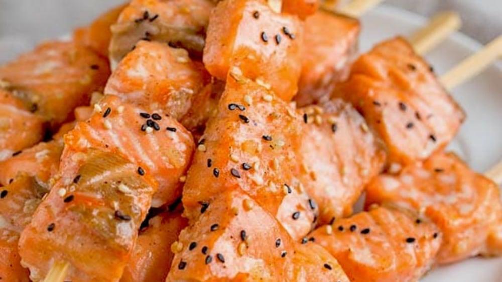 Image ofPineapple-Mango Salmon Skewers Recipe | Elijah's Xtreme