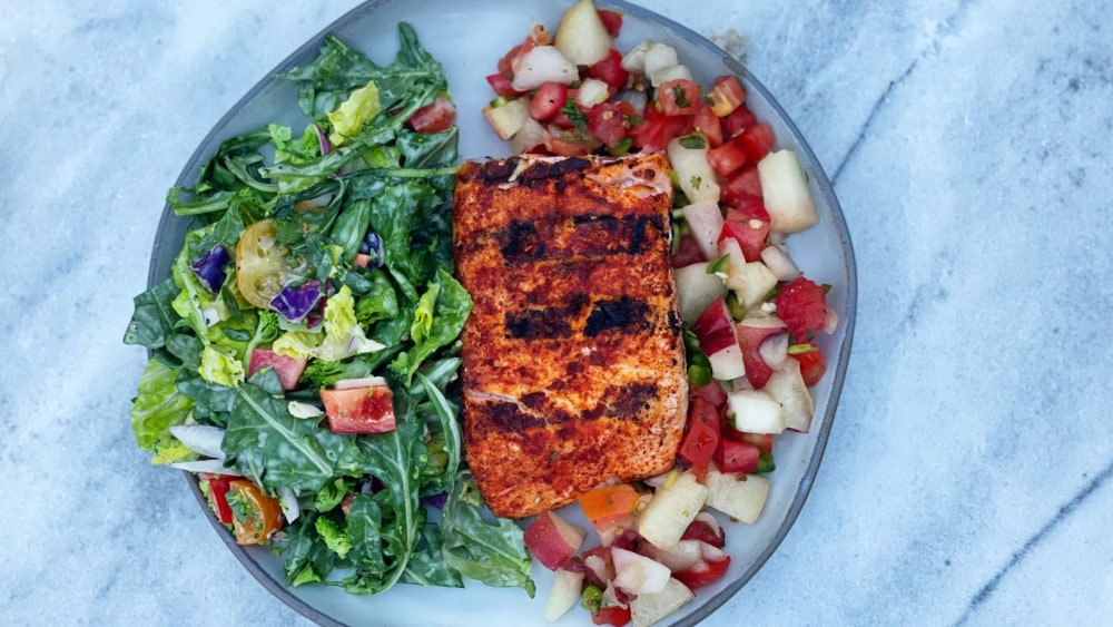 Image of Grilled Salmon with Summer Fruit Salsa
