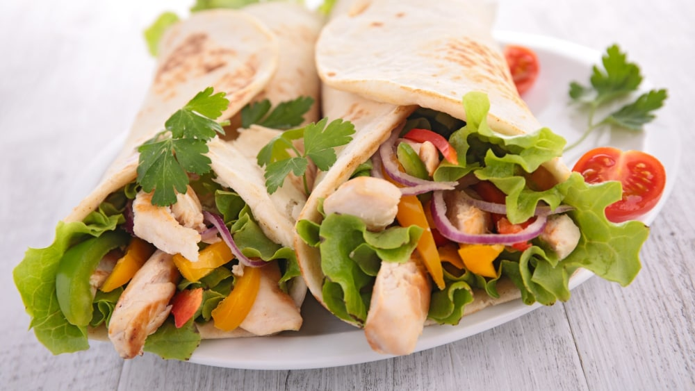 Image of Chicken Fajita Wraps with Creamy Cilantro Mayo