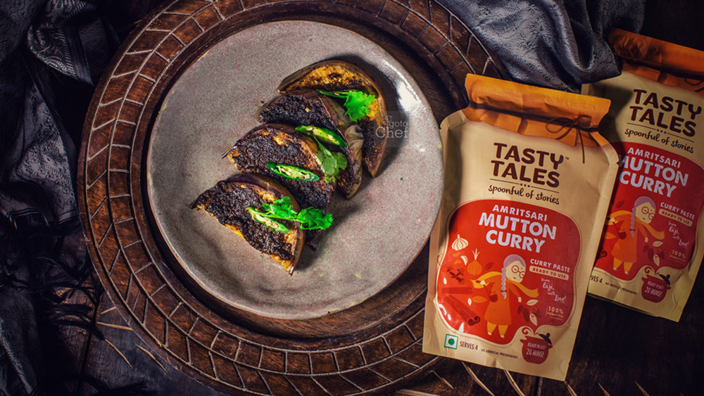 Image of Amritsari Baingan Fry Recipe ( Amritsari mutton curry )