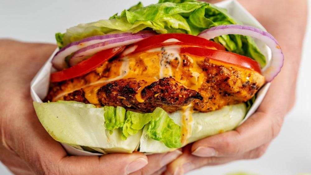 Image of Keto-Friendly Grilled Buffalo Chicken Lettuce Wrap