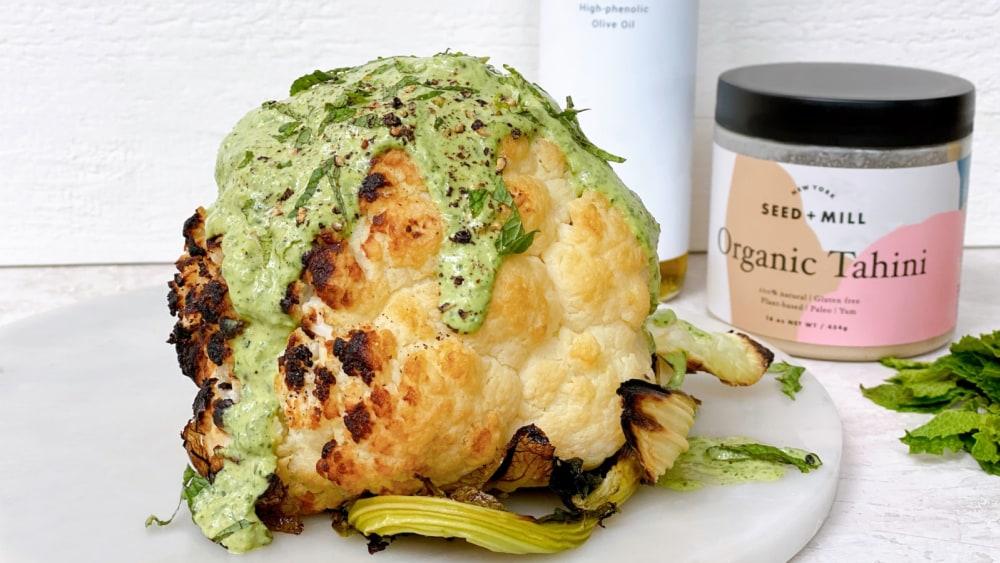 Image of Roasted Cauliflower With Green Tahini Sauce