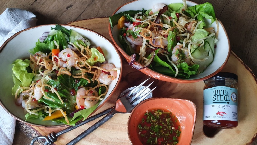 Image of Prawn and Crunchy Noodle Salad with Jalapeno Jelly Dressing