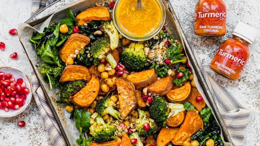 Image of Roast Broccoli Chickpea Sweet Potato Traybake