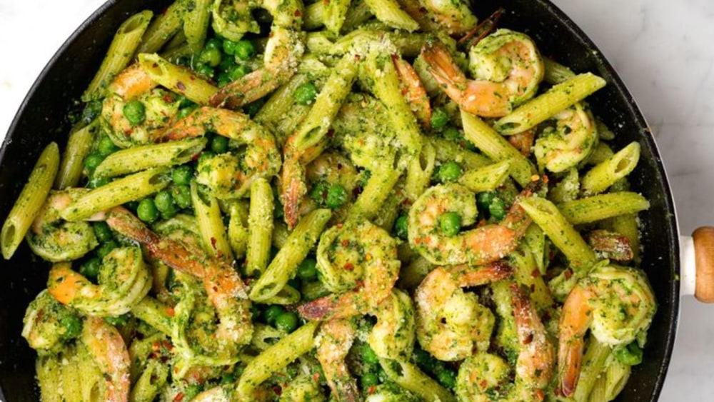 Image of Pesto Penne with Shrimp and Peas