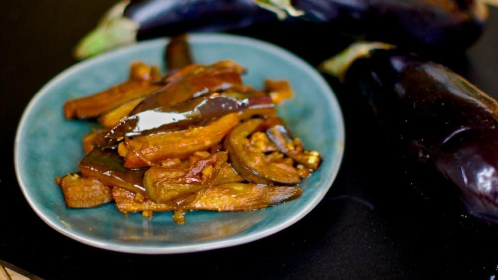Image of Side dish: ginger sesame marinated aubergine