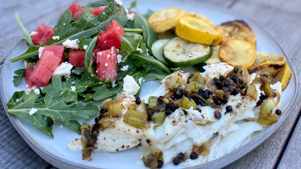 Image of Halibut with Green Onions and Peppercorns
