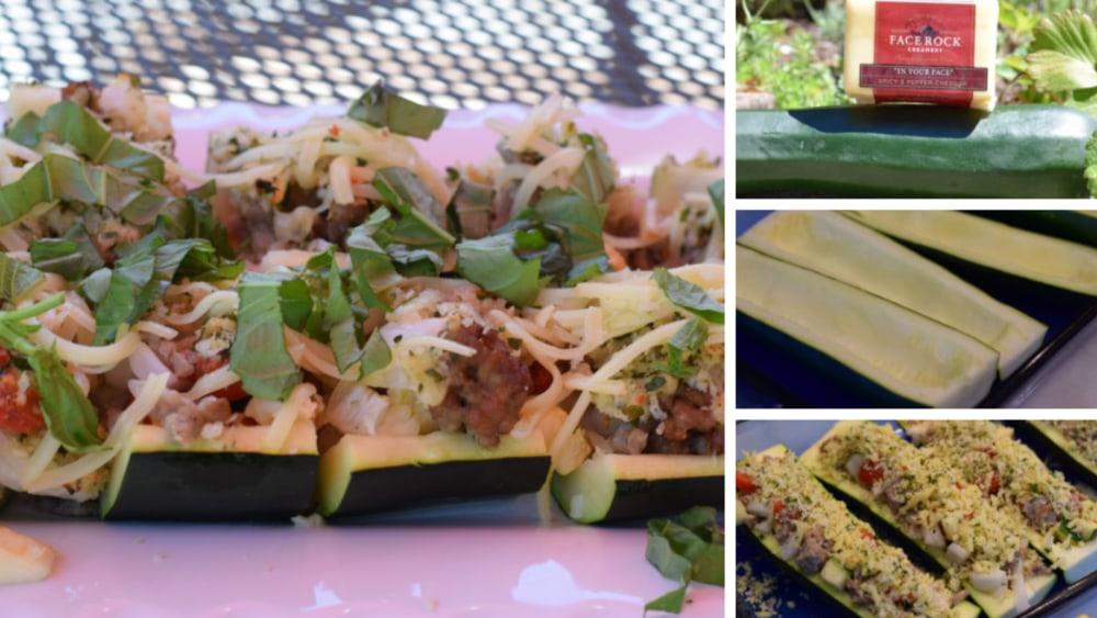 Image of Cheddar Stuffed Zucchini Boats