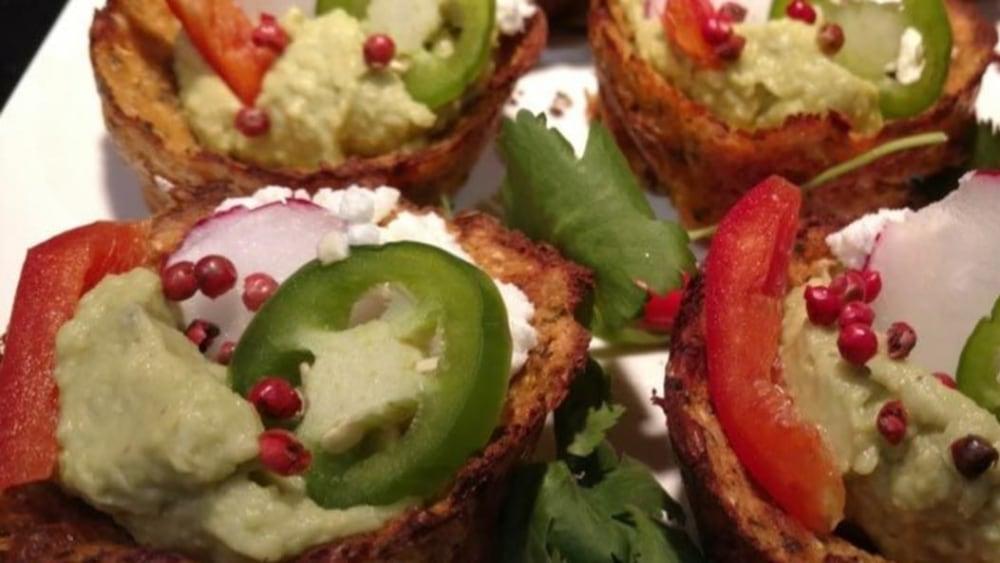 """Image of Holiday Cauliflower Avocado Hummus """"Cupcakes"""""""