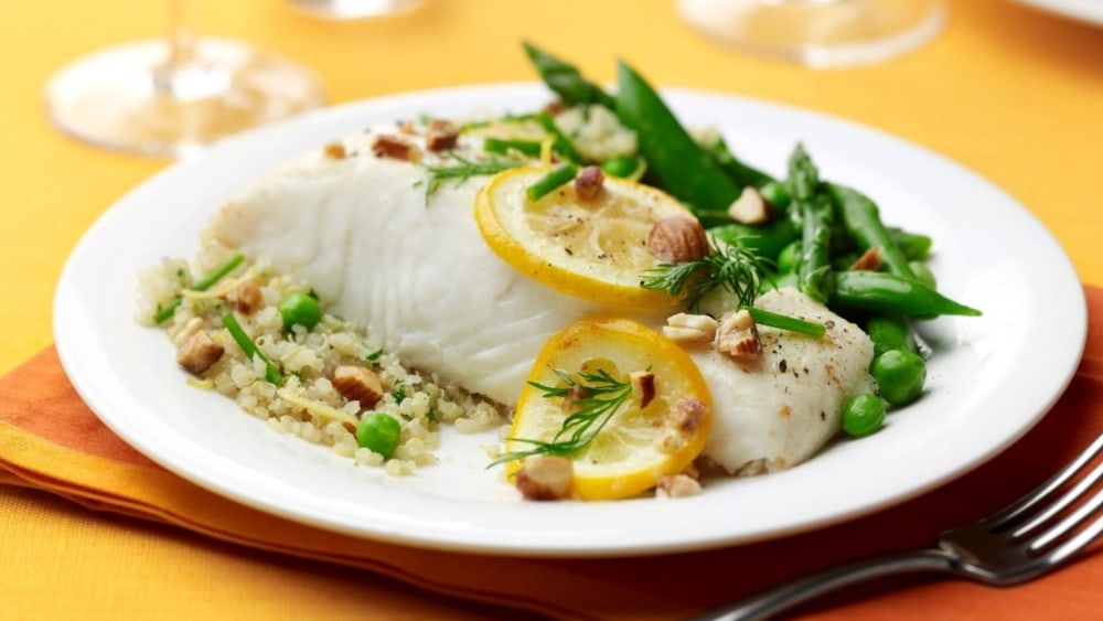 Image of Lemon Roasted Halibut with Quinoa, Almonds and Spring Vegetables