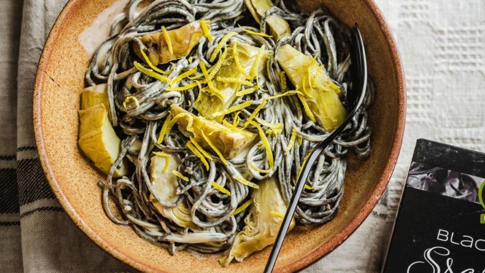 Image of Creamy artichoke black bean spaghetti