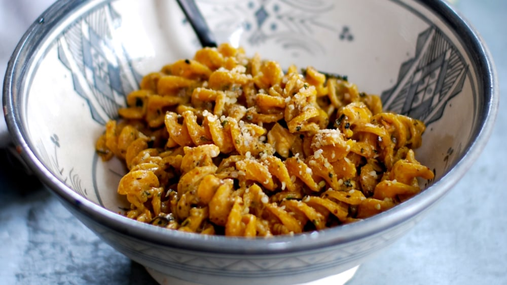 Image of Chickpea Turmeric Fusilli with Roasted Zucchini Cashew Sauce
