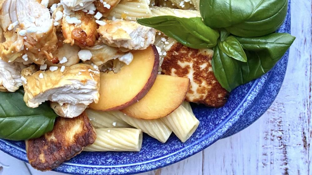 Image of Peach Chicken Pasta with Halloumi
