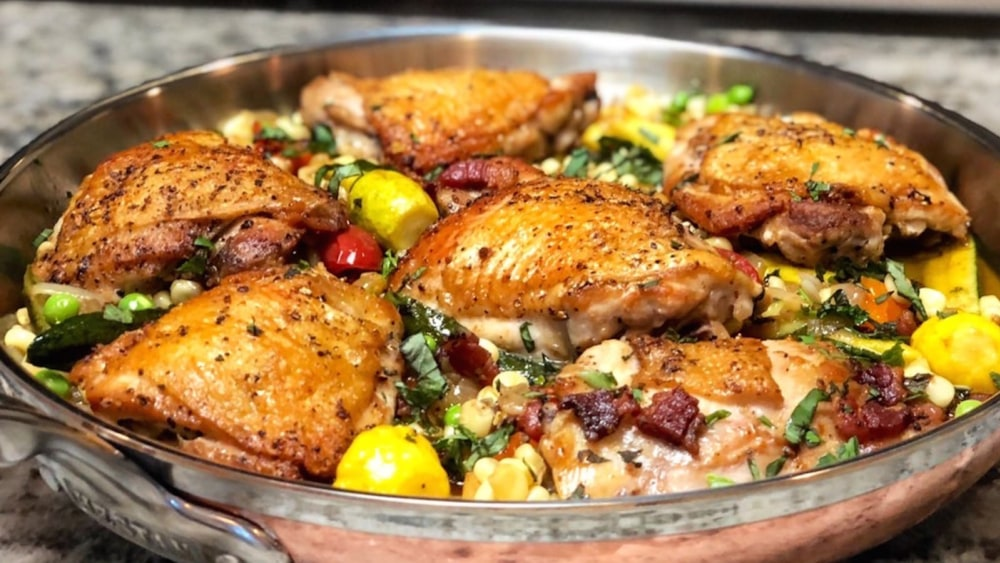 Image of Crispy Chicken Thighs with Summer Succotash